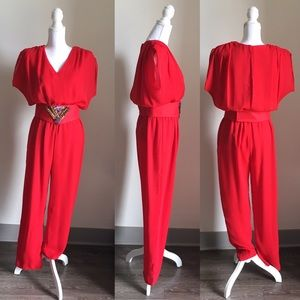 Vintage Red Jumpsuit with Beaded Belt